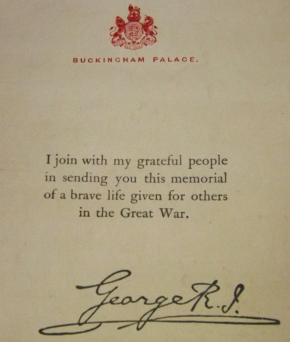Memorial scroll signed by King George V