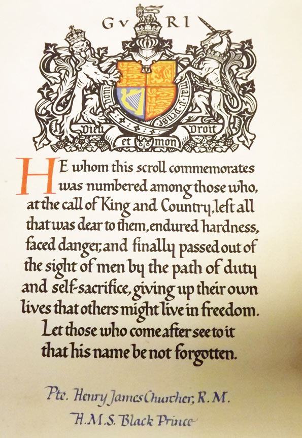 This scroll was sent to the family of PTE (Private) Henry James Churcher RN