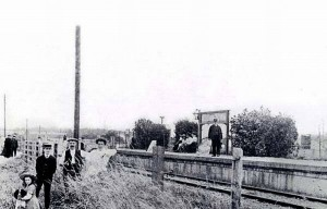 Browndown Halt (officially, although the word 'Halt' doesn't appear on the station nameboard). The single platform was on the south side of the line, so this view is looking east-ish. Pre-WW1?