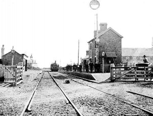 A very early photo of Brockhurst station; given that a photographer bothered to turn up, this may have been the first day of services from the station, judging by the number of gentlemen wearing top hats....