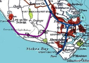 Pre-1910 map showing the railway between Fort Brockhurst and Lee; Elmore Halt wasn't opened until 11th April 1910, hence it not featuring on this map...