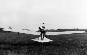 A rear view of Vic Hutfield's monoplane in 1910; Fort Grange can be seen on the right.