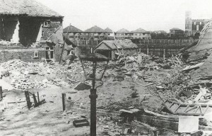 Bomb damage in Bury Hall Lane 1940/41. Jellicoe Avenue can be seen (centre) with the water tower on the right.