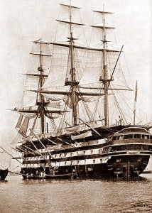 HMS 'St Vincent' under full sail while moored at Haslar c.1896. Credits to original photographer.