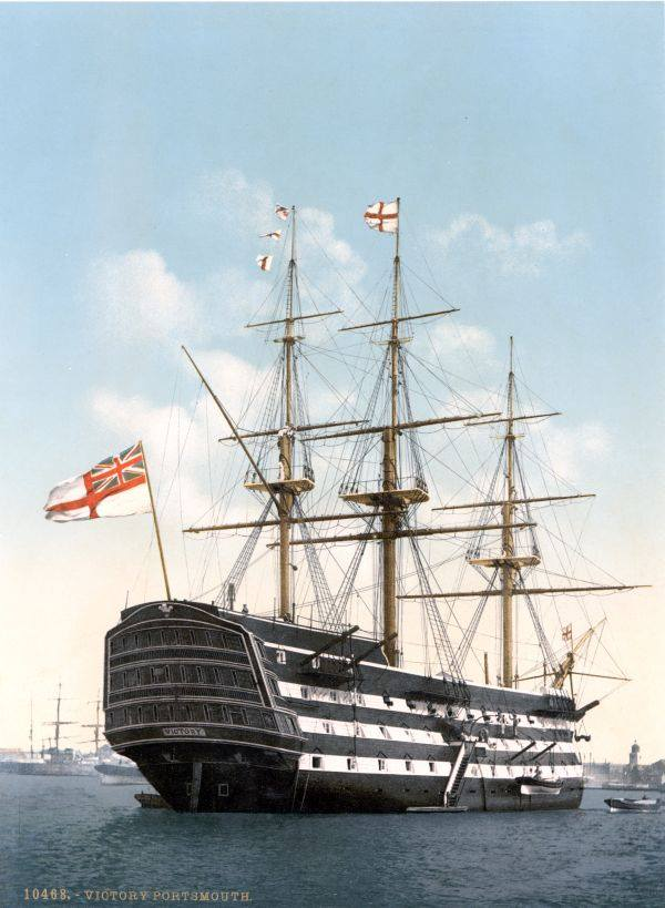 A-coloured-in-photo-of-HMS-Victory-in-bl