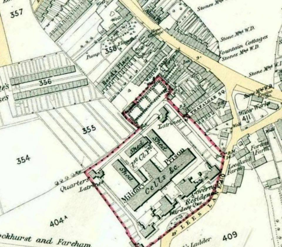 an old map of lees lane prison the waterworks in the road triangle complete with reservoir can be seen centre right gosport heritage open days